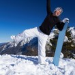 Female Snowboarder in Dolomites - Stockfoto