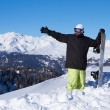 Snowboarder in Dolomites - Stock Photo