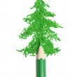 Fur-tree from crumbs and a green pencil — Stock Photo
