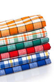 Six colored kitchen towels — Stock Photo