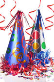 Party hats, streamers and confetti — Stockfoto