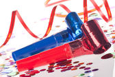 Party blowers, streamers and confetti — Stock Photo