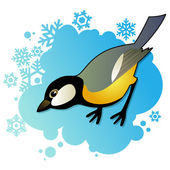 Tit on winter background — Stock Vector