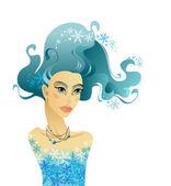 Beautiful woman with long hair. — Stock Vector