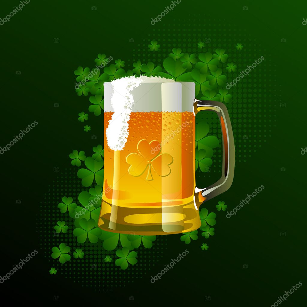 Frosty glass of light beer for St Patrick's Day on green and black background. — Stock Vector #5102381