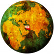 Iran flag on globe map — Stock Photo
