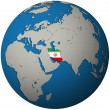 Iran flag on globe map - 图库照片