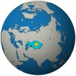 Kazakhstan flag on globe map — Stock Photo