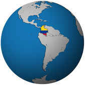 Colombia flag on globe map — Stock Photo