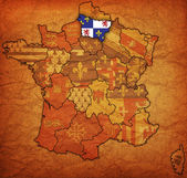 Picardy on old map of france with flags of administrative divisions — Stock Photo