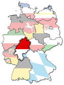 Hessen flag on map of german regions — Stock Photo