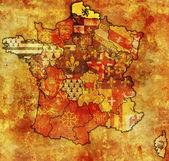 Nord-Pas-de-Calais on old map of france with flags of administrative divisions — Stock Photo