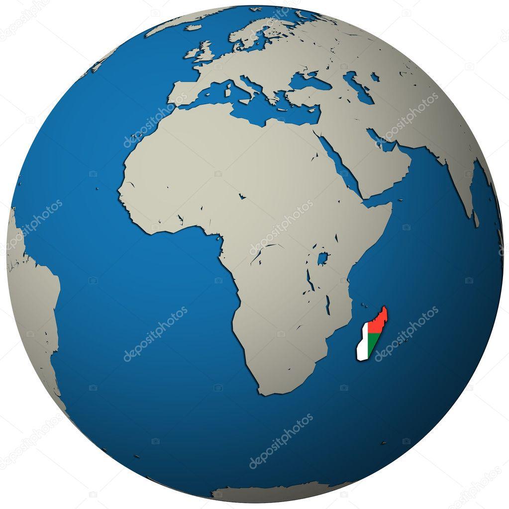 马达加斯加国旗在世界地图上