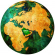 Saudi arabia flag on globe map — Stock Photo #5284920