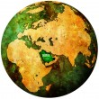 Saudi arabia flag on globe map — Stock Photo #5284926