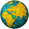 Stock Photo: Saudi arabia flag on globe map
