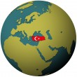 Turkey flag on globe map — Stock Photo #5285027