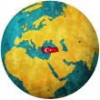 Turkey flag on globe map — Stock Photo #5285048