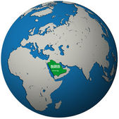 Saudi arabia flag on globe map — Stock Photo