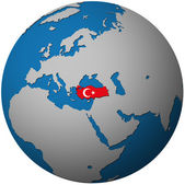 Turkey flag on globe map — Stock Photo