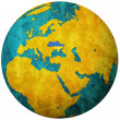 Ukraine flag on globe map — Photo