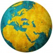 Stock Photo: Ukraine flag on globe map
