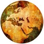 Romania flag on globe map — Stock Photo #5327086