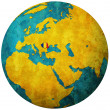 Romania flag on globe map — Stock Photo