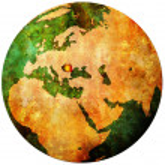 Romania flag on globe map — Stock Photo #5327139