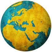 Flaga węgier na mapie świata — Zdjęcie stockowe