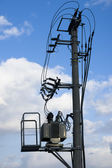 Free air substation for electicity transforming — Stock Photo