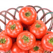 Stock Photo: Red tomatoes in bamboo basket