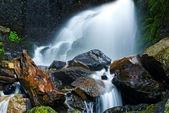 Small waterfall with moss rocks. — Stock Photo