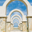 Beautiful architecture, winding corridor with arch door decorati — Stock Photo #4005014