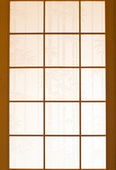 Wooden window and Japanese paper — Stock Photo