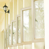 Row of opened windows — Stock Photo