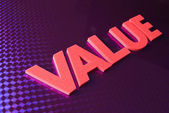 Value word on blue neon background — Stock Photo