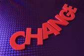 Change word on blue neon background — Stock Photo