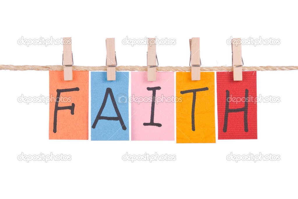 Faith, Colorful words hang on rope by wooden peg — Stock Photo #4421910