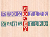 Money, promotion and marketing word stamped on wooden background — Stock Photo