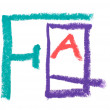 Photo: FAQ, colorful crayon letters
