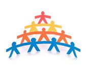 Conceito de trabalho em equipe, bonecos de papel colorido — Foto Stock