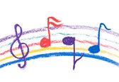 Colorful music notation drawing on white — Stock Photo