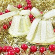 Golden Christmas bells — Stock Photo