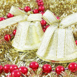 Golden Christmas bells - Stock Photo