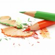 Sharpening of colorful pencils on white — Stock Photo #4572491