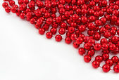Red pearls background for holidays — Stok fotoğraf
