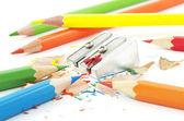 カラフルな鉛筆とシャープナー — ストック写真