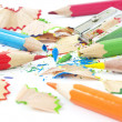 Sharpening of colorful pencils — Stock Photo