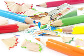 Sharpening of colorful pencils — Stockfoto